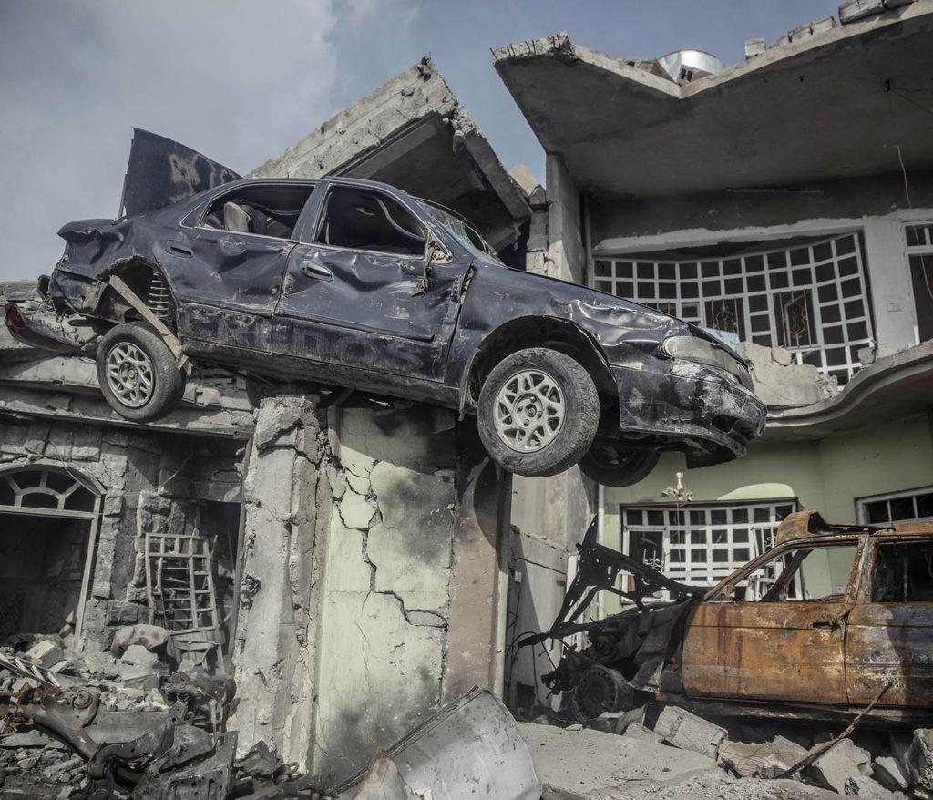 Stadsdelen Galzani i västra Mosul är totalförstörd efter hårda strider mellan IS och irakiska styrkor. Foto: Magnus Wennman
